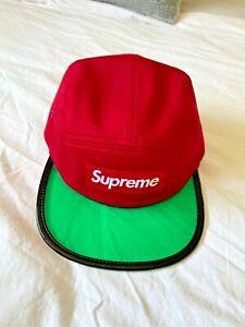 Supreme 5 panel camp hat clear brim red green