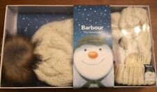 BARBOUR HAT AND MITTEN GIFT SET - NIB - WHITE CHLOE - SIZE S/M