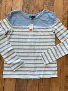 #13 NWT! Girl's Lt. Blue and White Striped LS Tee by Gap Kids, Sz: XL (12)