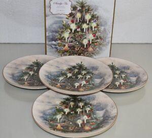 Neuf en Boîte Cadeau Pottery Barn Set De 4 Nostalgique Arbre Salade Plaques Noël