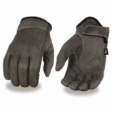 MENS MOTORCYCLE CRUISER DISTRESSED GREY SOFT LEATHER LINED GEL PALM GLOVES SOFT