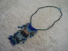 Southwestern Blue Green Fringe Bead Necklace (B46)