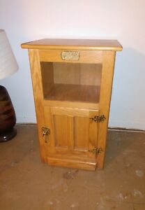 White Clad Wood Ice Box End Table Vintage Cabinet Shelf 18 x 13 x 29