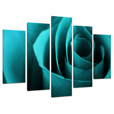 Set of 5 Teal Blue Floral Canvas Wall Art Pictures Bedroom Prints 5109