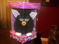Original 1998 Vintage Furby Black, White Feet Pink Ears Green Eyes 70-800 NIB