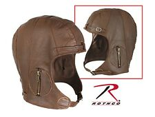 Aviator Cap Pilot Motorcycle BROWN Leather Vintage WWII Style Hat M/L