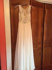 Tara Keely Wedding Dress 2557, size 6, Ivory Chiffon A-line Gown w/ Lace Bodice