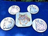 ANTIQUE Chadwick Porcelain ORANGE TABBY CAT Ashtray ++ LAUREL BURCH Art Coasters