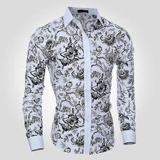 Stylish Mens Luxury Casual Formal Shirt Long Sleeve Slim Fit Office Dress Shirts