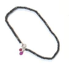"rare knotted black beaded spinel gemstone bracelet sterling silver 2mm 7"" india"