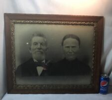 Vtg 1920-30's Oak Frame Chalk Design Haunting Stare Couple Photograph
