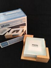 "Set of 4 Glass Photo Coasters with Wood Storage Caddy 2.5"" x 2.5"""