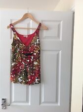 LADIES 'MISS SIXTY' BUTTERFLY PRINT VEST TOP.SIZE XS/SIZE 8. VERY GOOD CONDITION