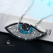 18K WHITE GOLD GP EYE OF TRUTH MULTICOLOUR CRYSTAL MAGIC PENDANT NECKLACE
