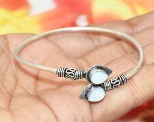 Bracelet 925 Silver Overlay U287-D149 Opalite Gemstone Adjustable Cuff Bangle