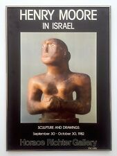 HENRY MOORE IN ISRAEL RARE VNTG 1982 LITHOGRAPH PRINT FRAMED EXHIBITION POSTER