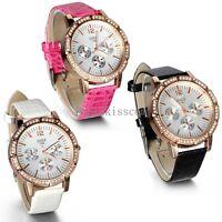 Leather Band Quartz Analog Casual Ladies Girls  Round Wrist Watch Fashion New