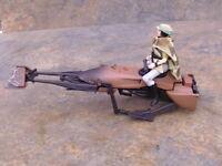 1995 Tonka Star Wars Princess Leia  & Endor Speeder Bike . Star Wars figure