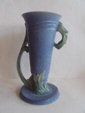 "Rare! Vintage Original Roseville Blue Velmoss II 119-10"" Tall Vase. Beautiful!"