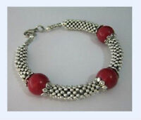 009 Beautiful Tibet Silver Red Jade Bead Bracelet
