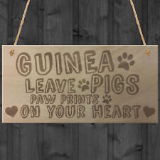 Guinea Pigs Paw Prints Wooden Plaques Hutch Cage Run Garden Pet Birthday Gifts