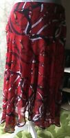 Per Una Womens Red Patterned Skirt Chiffon,Floating ,Beautiful Size 12