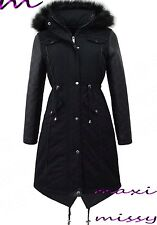 NEW MAXI LADIES PARKA JACKET Quilted PU Sleeves WINTER COAT FISHTAIL Size 8-16 M
