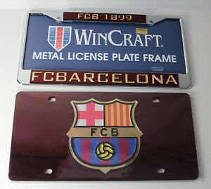 FC Barcelona Football Club Lot of 2 License Plate AND Frame NEW