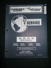 1996 OMC Evinrude Johnson Outboard Parts Catalog Manual 20 25 30 35 HP Rope