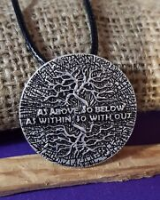 Pendant OCCULT  AS ABOVE SO BELOW AS WITHIN SO WITHOUT Esoteric Amulet Tree