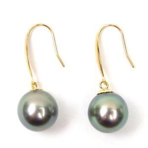 10mm Tahitian Green / Silver Pearl 18K Yellow Gold Dangle Hook Earrings