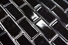 Mosaïque brique céramique noir brillant cuisine bain mur 24-4BG_b | 1 plaque
