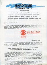 MARTIN KOVE HARD TIME ON PLANET EARTH RARE ORIGINAL 1989 CBS TV PRESS MATERIAL
