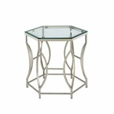 Furniture of America Annette Metal End Table in Chrome