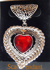NWT FANCY SILVER SCARF RING/SLIDER W/SILVER HEART PENDANT, MULTI FACET RED CAB