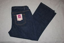 Womens Jeans DARK BLUE DENIM Wide Leg RELAXED FIT Comfort Stretch SIZE 10
