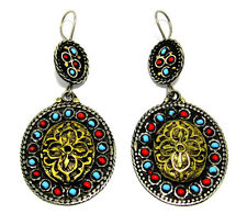 Big Afghan Kuchi Earrings Tribal Bohemian Carved Gold Boho Black Ethnic Jewelry