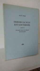 René CHAR / Edition Originale GLM