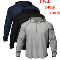 3 Pack Sale Men Fitness GYM Bodybuilding Workout Raglan Hoodies Sweatshirts