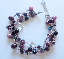 Bracelet-Freshwater Pearls- beads-3 braided strands -purples black seed beads