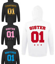 Brother Sister Bruder Schwester Hoodie Pullover BFF mit Wunschzahl BRO SIS NEU