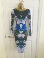LIPSY Kardashian Black Floral Evening Occasion Party Races Midi Wiggle Dress £65