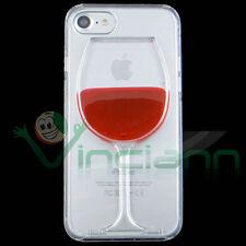 """Pellicola+Custodia RED WINE liquido rosso iPhone 7 4.7"""" cover rigida calice vino"""