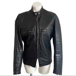 Brooks Leather Sportswear Gold Label Vintage 60s Black Cafe Racer Jacket Size 40