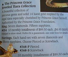 FRANKLIN MINT GRACE KELLY RING + EARRINGS 21 DIAMONDS 45 BLUE SAPPHIRES 14K GOLD