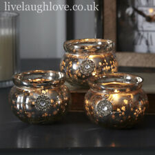 Antique Glass Tea Light Holder with Hanging Diamante Charms - Set Of 3