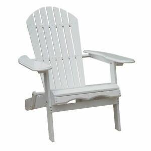Northbeam MPG-AC01WP Outdoor Garden Foldable Wooden Adirondack Deck Chair, White