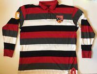 Coogi Australia Men's Polo Shirt 3xl Long Sleeve Red Black Striped Rugby