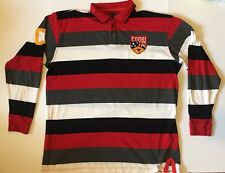 Coogi Australia Men's Polo Shirt 3xl Long Sleeve Red Black Striped Rugby