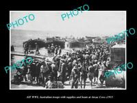 OLD LARGE HISTORIC PHOTO OF WWI AUSTRALIAN TROOPS UNLOADING AT ANZAC COVE c1915